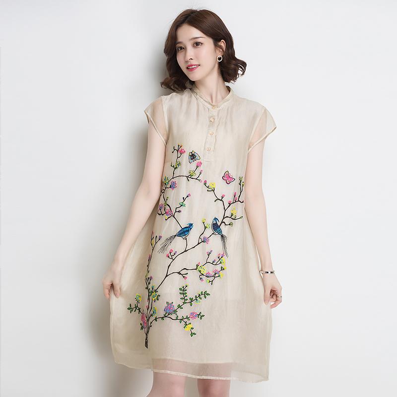 金菊夏天连衣裙女新款重磅桑蚕丝短袖宽松显瘦真丝旗袍中长款显瘦
