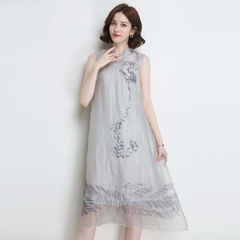 金菊重磅旗袍夏季2019新款连衣裙