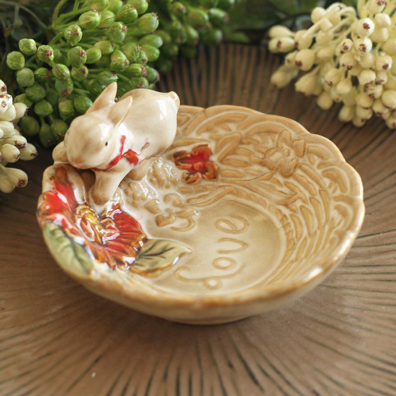 歐式田園 家居裝飾品衛生間陶瓷兔子肥皂碟香皂碟肥皂盒小擺件