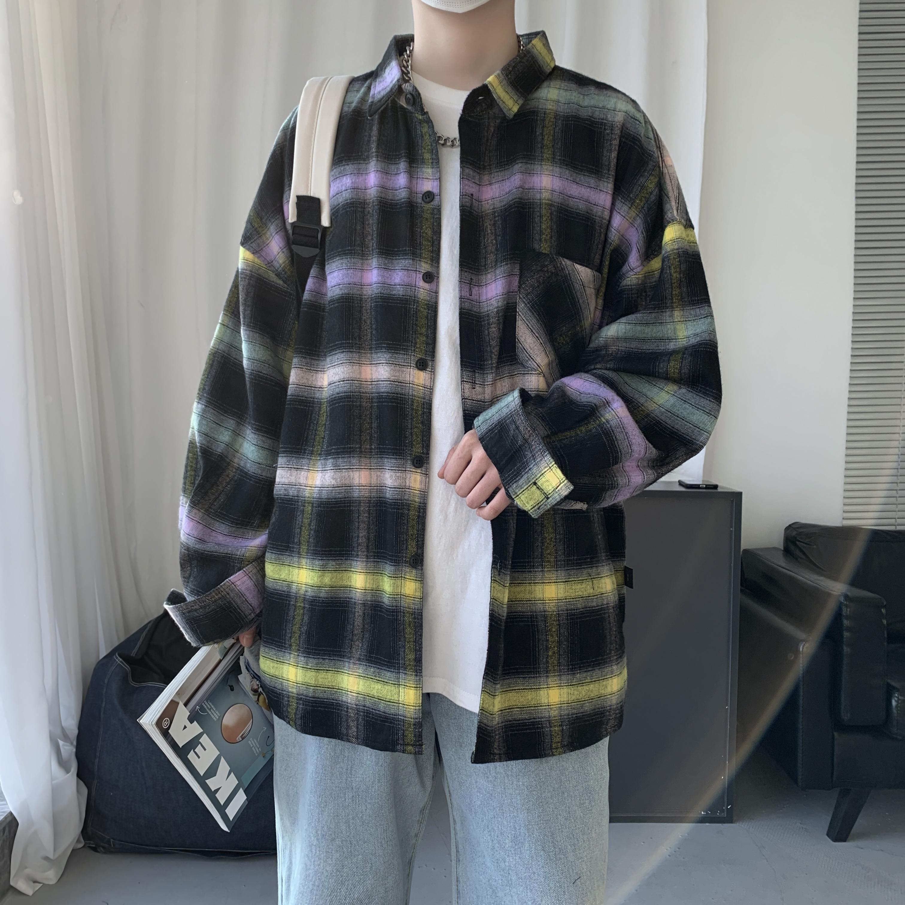 2021年男士港风外套长袖格子拼色潮流时尚衬衫男衬衣男CS06 P55