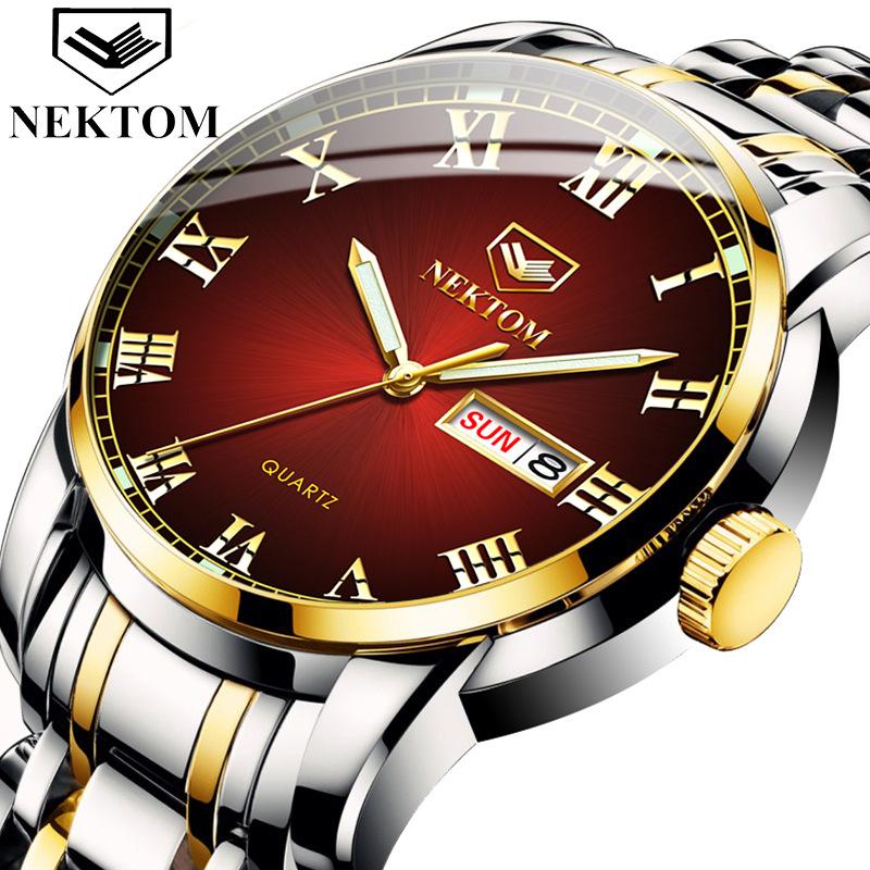 Factory direct sales Japan movement watch waterproof double calendar steel band mens brand quartz watch luminous fashion watch