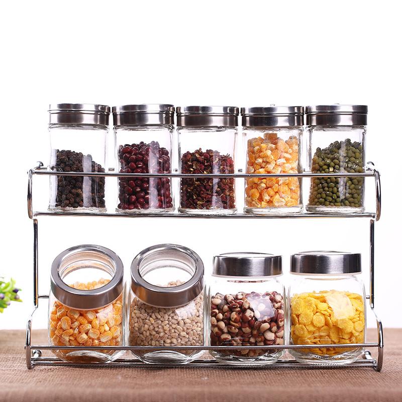 包郵玻璃 調味瓶 廚房用品 調料瓶盒 調味罐 置物架2層10件套帶架