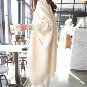 开衫毛衣女中长款韩版宽松蝙蝠袖针织衫外搭春秋2020新款秋装外套