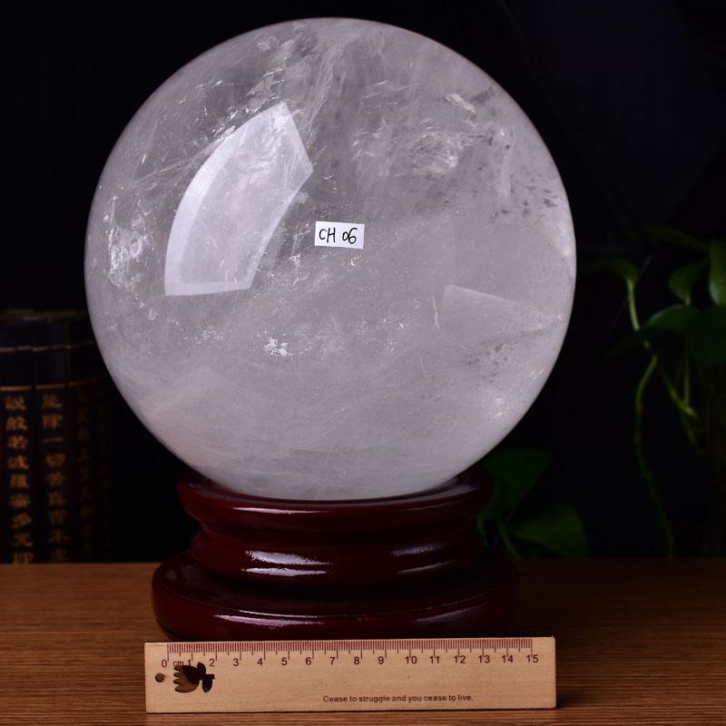 天然白晶球ch06#14.5kg21.8cm罕见大件矿石六寸风水家居摆饰品大