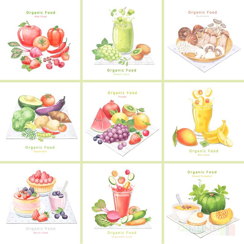 手绘卡通餐饮美食甜品蔬菜水果饮料蛋糕PSD插图设计素材模板82104