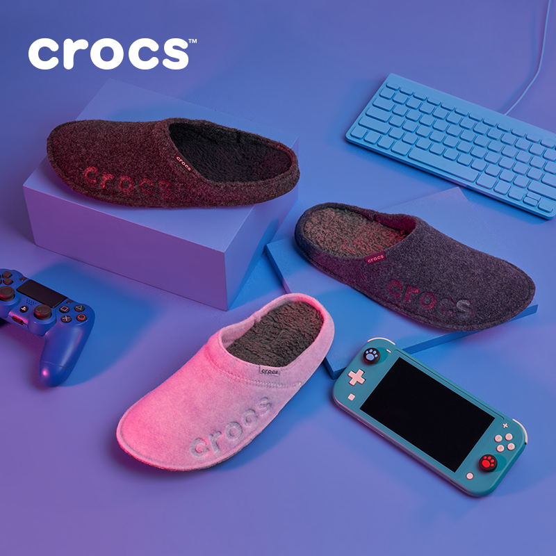 Crocs cotton slippers women home autumn and winter light soft bottom home indoor warm fur slippers men 205917