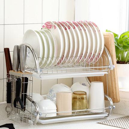 碗架沥水架304不锈钢厨房置物架2双层碗筷收纳架滤水晾洗放碗碟架