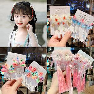 儿童汉服中国风女童新年发夹流苏
