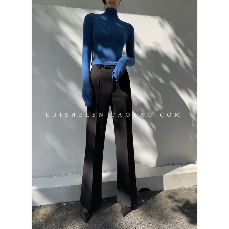 Luis Helen自制设计感秋款免烫中腰微喇纯色阔腿裤拖地裤