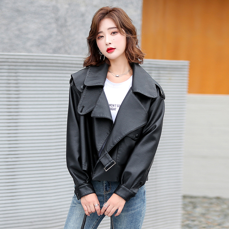 Leather coat, womens coat, motorcycle jacket, loose Cape, Jiang Shuying, the same model, the new leisure fashion short model of 2021