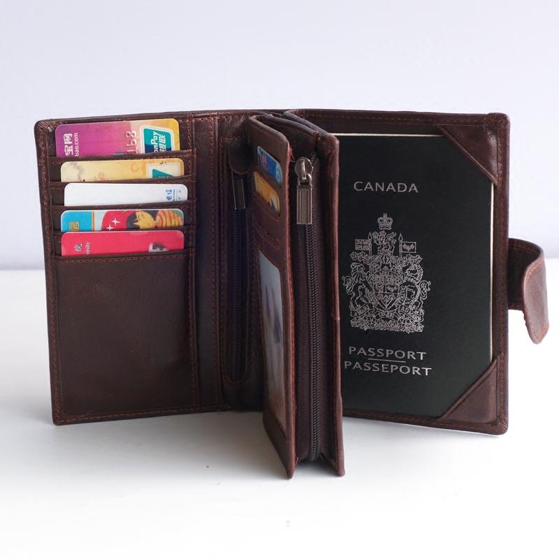 真皮旅行机票护照包大容量牛皮钱包多功能证件包护照夹驾驶证袋男