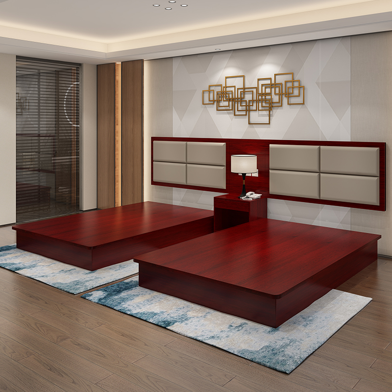 Beijing hotel bed hotel furniture bed customized hotel apartment single double bed guest room rental bed standard room full set