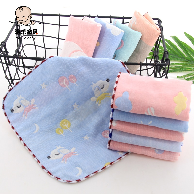 10 pieces of babys square towel, six layers of gauze, saliva towel, cartoon, jacquard, small towel, kindergarten handkerchief