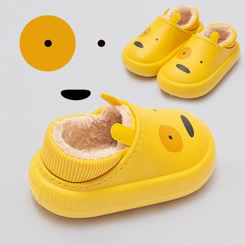 包跟男童秋冬季防水防滑儿童棉拖鞋