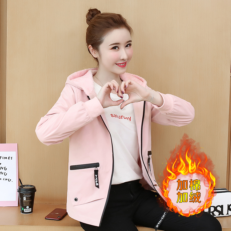Autumn and winter short small coat womens spring and autumn 2019 new top Korean loose hooded Plush jacket