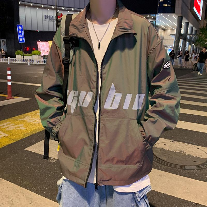 男士夹克秋季新款青少年潮流宽松休闲国潮反光炫彩外套JK03P60