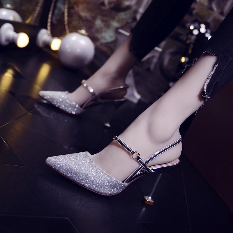 限100000张券包头凉鞋2019新款十八岁成年礼小清新高跟鞋女夏细跟百搭水晶婚鞋