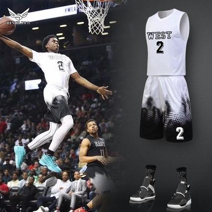篮球运动套装男大学生定制比赛运动训练队服渐变团购背心球衣印字