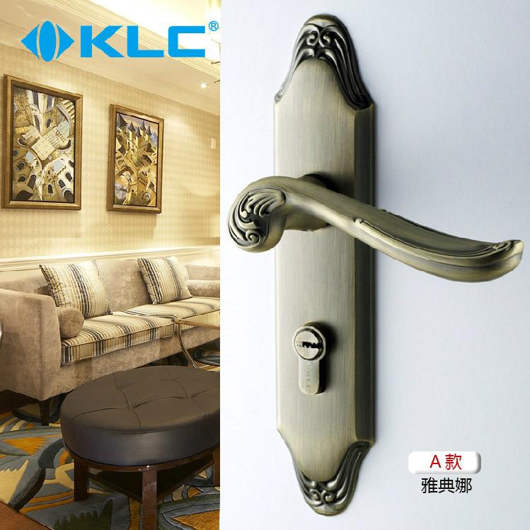 德國KLC 臥室門鎖門把手青古銅房門鎖歐式室內門鎖簡約木門鎖
