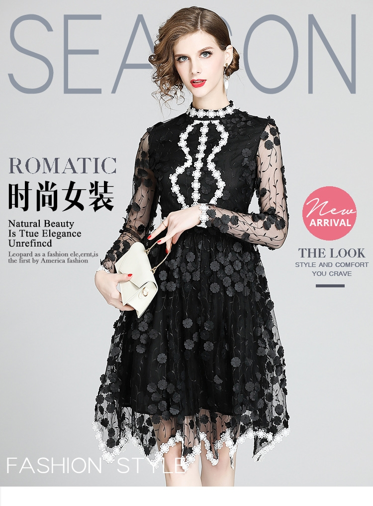 European station Oriental womens new style in spring and summer high end womens embroidered hand-made flower mesh long dress