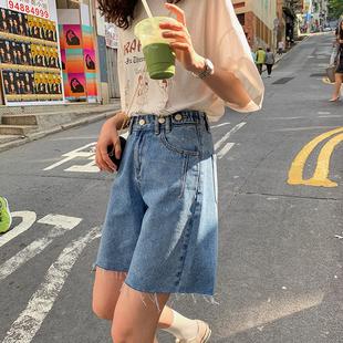 2020夏季 女五分裤 新款 宽松显瘦韩版 潮 JHXC A字阔腿裤 高腰牛仔短裤