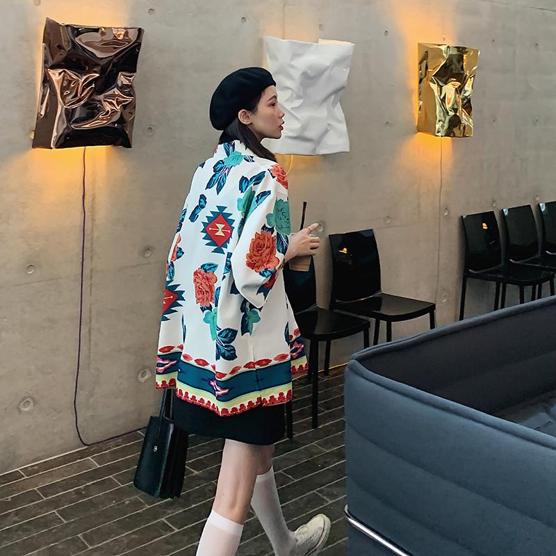 jhxc雪纺印花外套薄款2019新款衬衫95.00元包邮