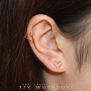 愛心耳環心形耳環桃心耳釘純銀14K金色耳環耳骨環少女心diy耳環