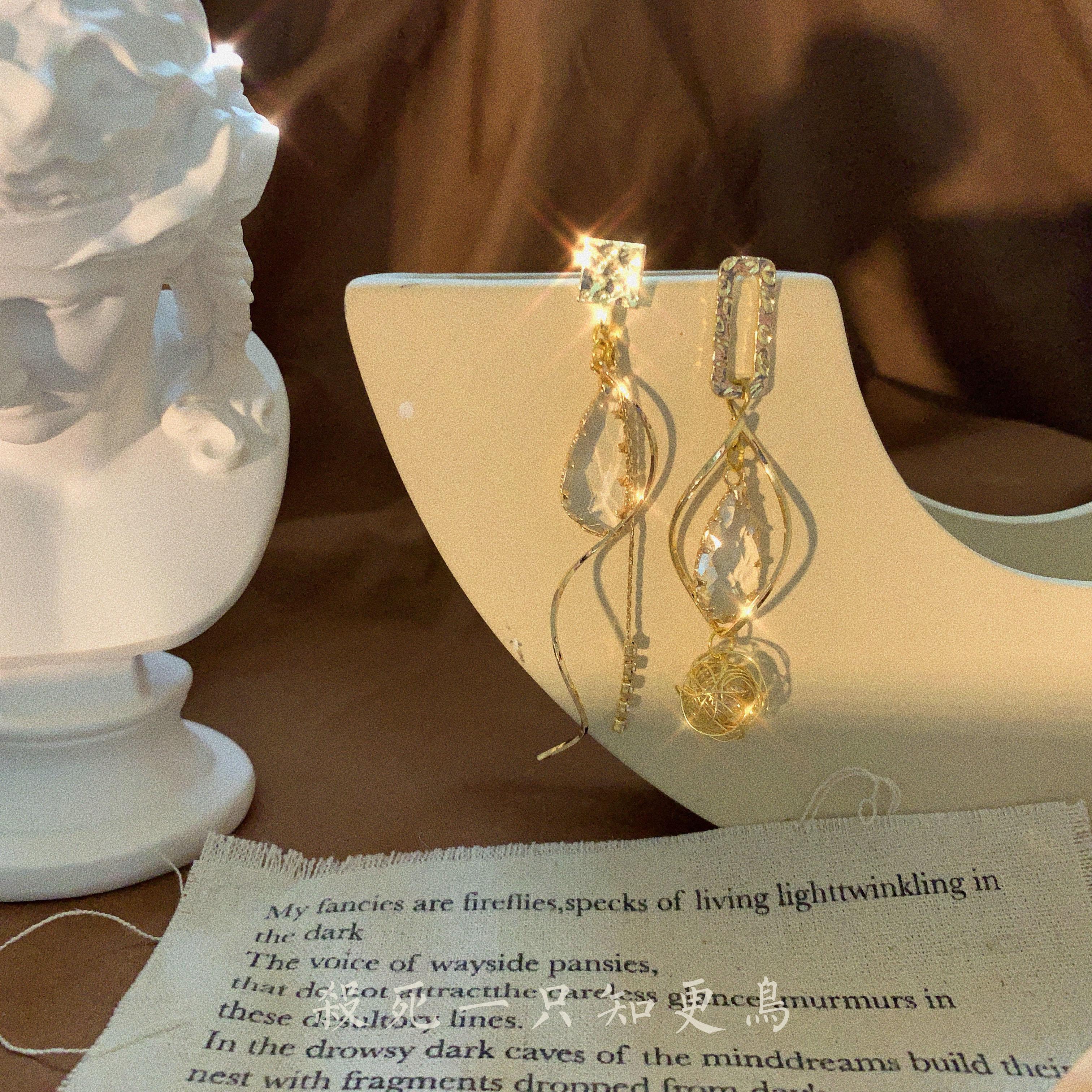 「知更鸟」古堡惊情 包邮 原创手作复古巴洛克不对称水晶耳环耳夹