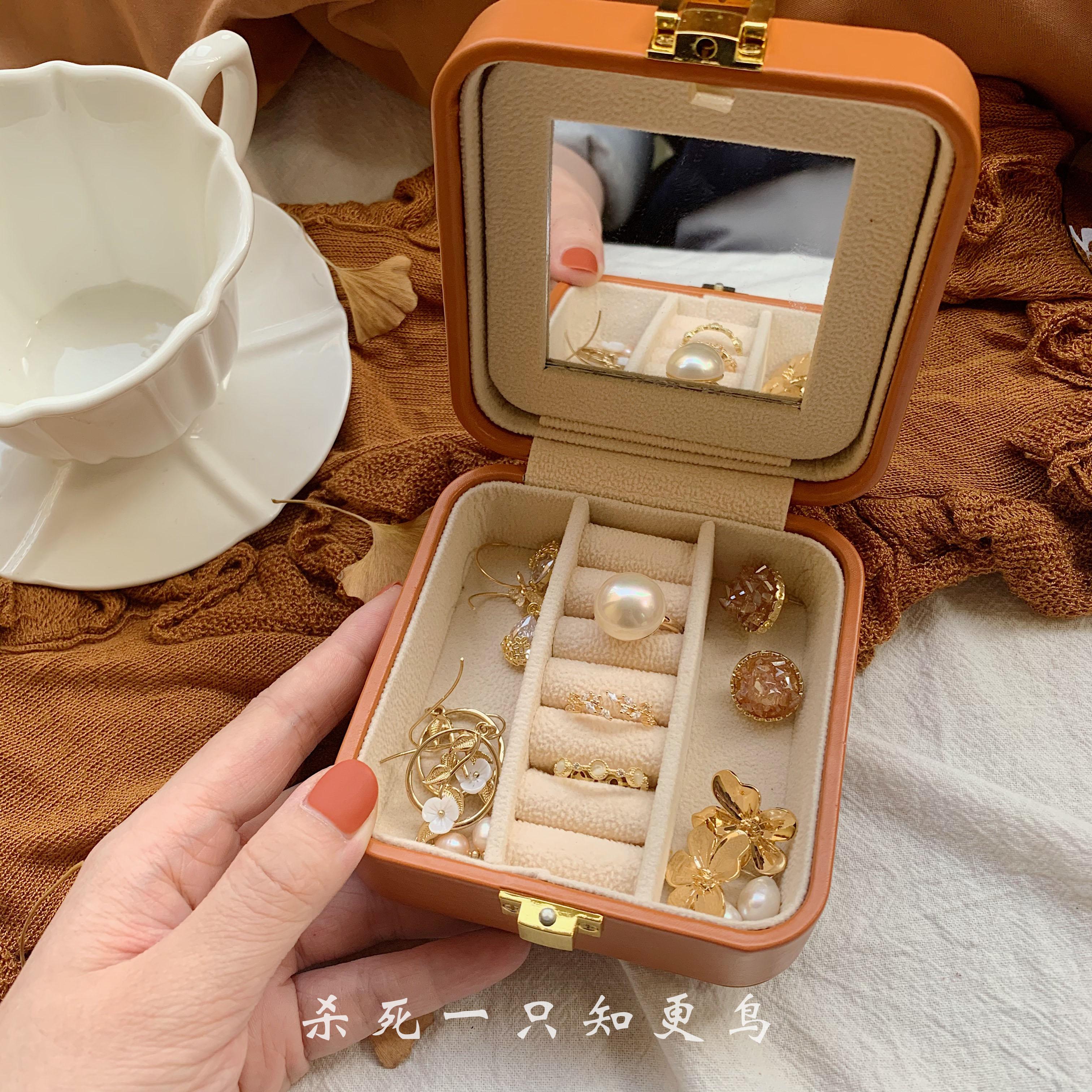 「知更鸟」包邮南瓜色ins风皮质绒面收纳盒戒指耳环便携首饰盒女图片