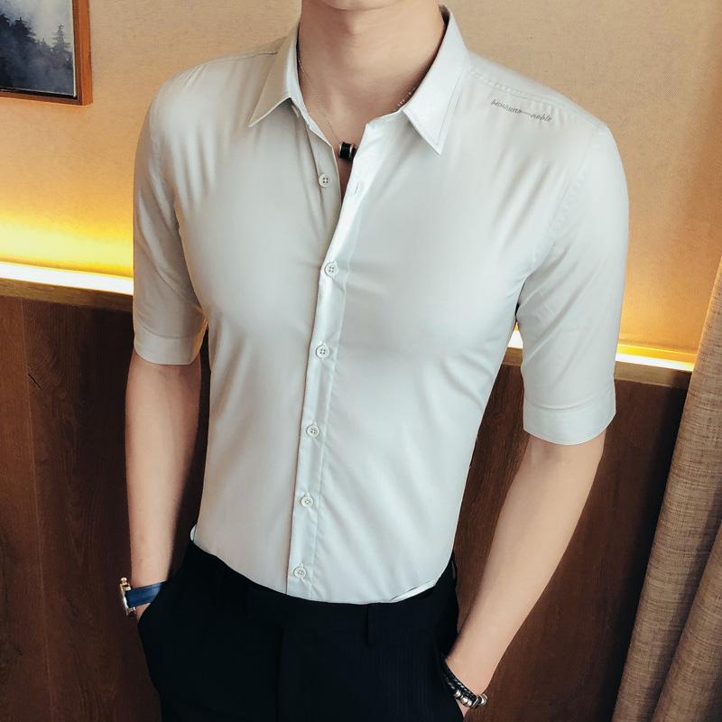 刺绣短中袖衬衣韩版男夏季商务英伦风五分袖衬衫225-6-CS601P65