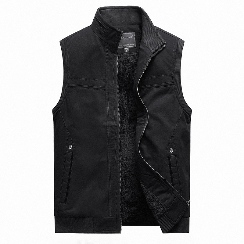 New mens autumn and winter Plush thickened cold proof and warm shoulder large sleeveless coat mens pure cotton vest vest