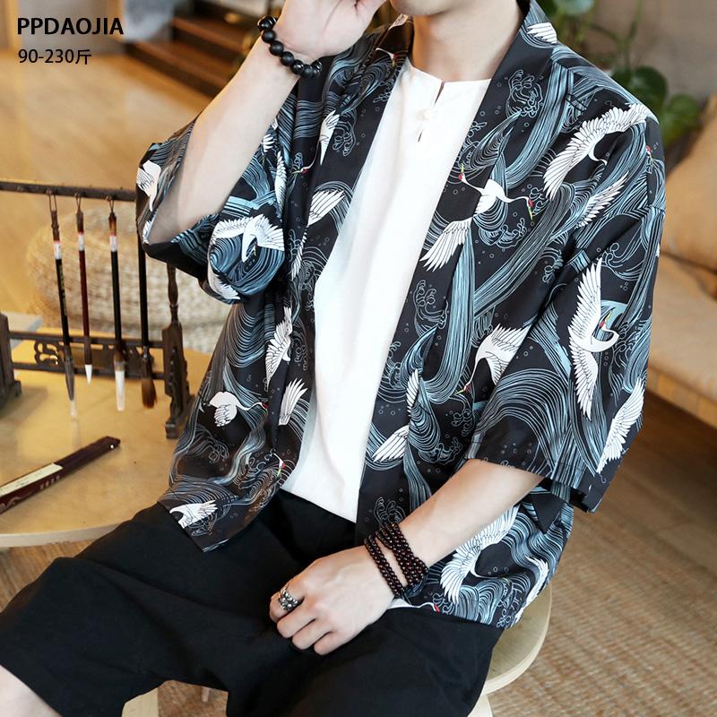 中国风套装七分袖衬衫男浮世绘仙鹤道袍和服汉服防晒衣外套男夏季(用98元券)