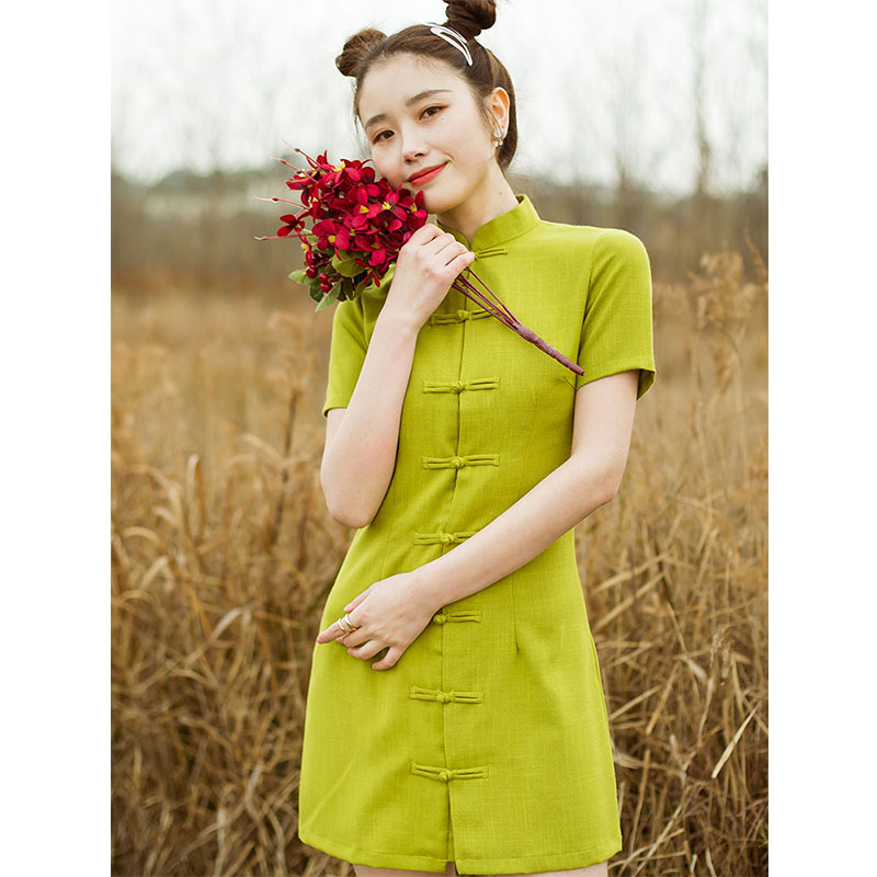Real shot butter fruit green pants improved fresh and slim cheongsam summer new lady Chinese style black dress