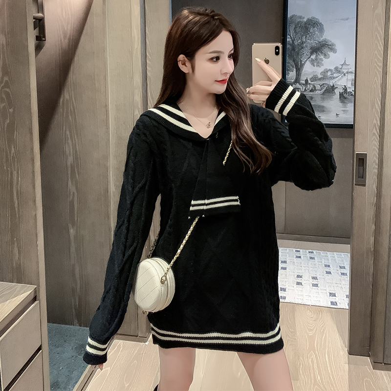 Japanese college sweater womens loose and long Navy collar JK knitted dress fashion