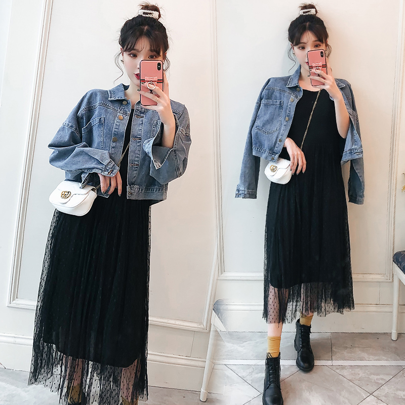 Two pieces of fashionable and slim denim jacket + mesh dress