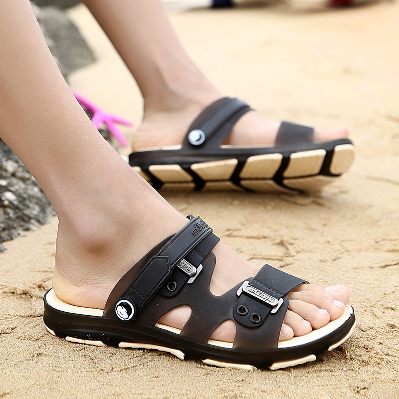 Summer fashion trend flat bottomed open toe sandals mens Non Slip soft soled outdoor casual plastic beach shoes
