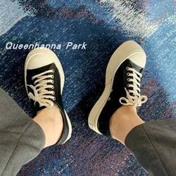 网红MONA阿希哥同款系带帆布鞋松糕厚底小皮鞋增高低帮大头鞋女潮