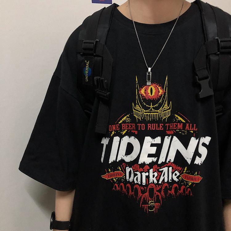 Korea studios.19韩国复古暗黑系幽灵字母做旧印花短袖T恤 男女款