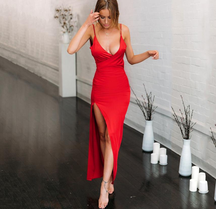 亞馬遜歐美V領露背側開叉吊帶連衣裙不規則長裙禮服女