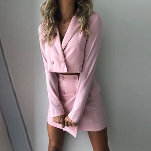 粉色氣質修身露臍短款高腰小西裝半身排扣裙時尚套裝夏兩件套裙女