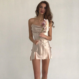 Мисс атлас уютный дамское белье хорошо ремень сексуальный тонкий дважды открытый вилка платье бандаж талия A слово юбка лето