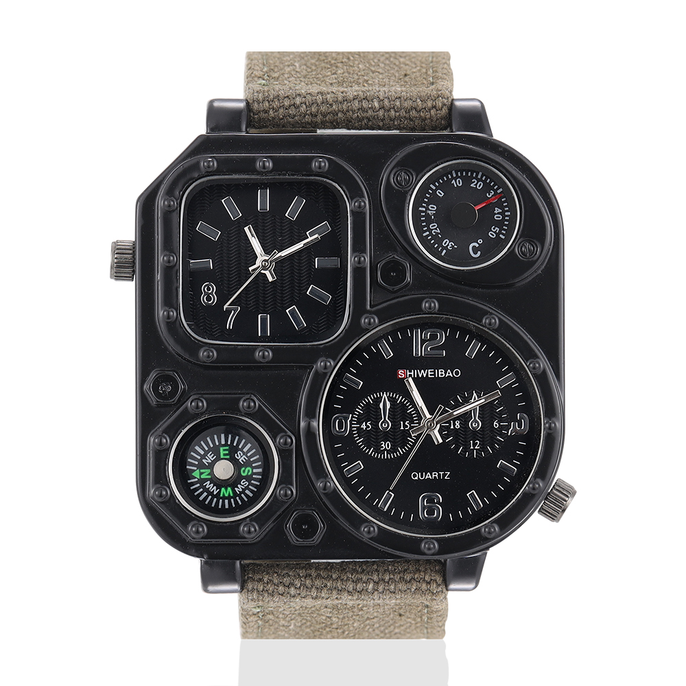Parcel mail upgrade mens non mechanical quartz watch Yake SQUARE COMPASS canvas military dual schedule
