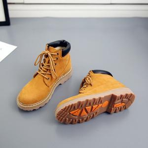 2020春秋新款韩国马丁靴女英伦风真皮复古加绒短靴系带机车靴棉鞋