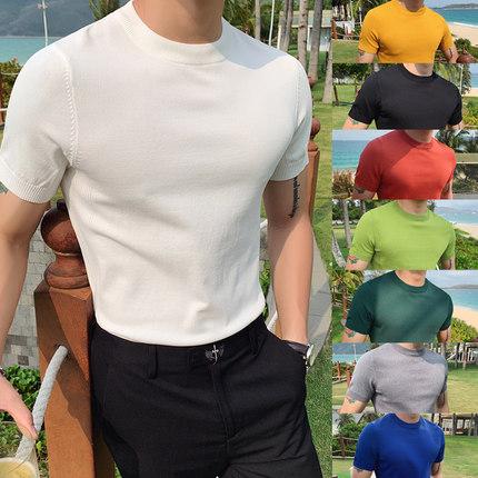 夏季男士修身纯色短袖针织体恤型男圆领休闲冰丝半袖T恤打底衫薄