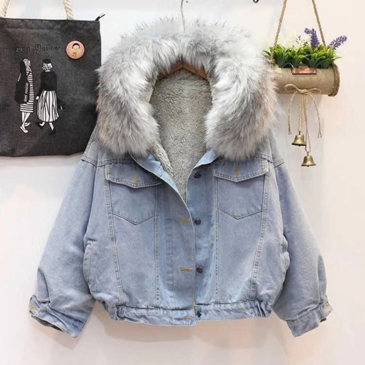 Large wool collar hooded cashmere denim coat womens thickened short cotton clothes Student Korean loose lamb wool cotton clothes tide