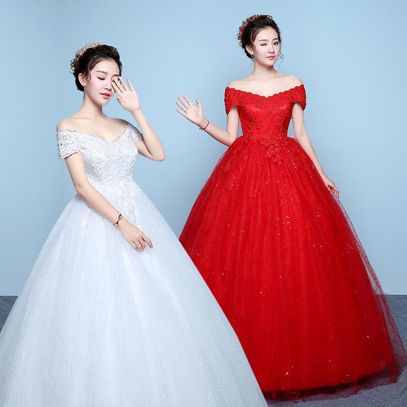 韩式婚纱礼服2019新款婚纱一字肩孕妇婚纱高腰婚纱红色婚纱小个子