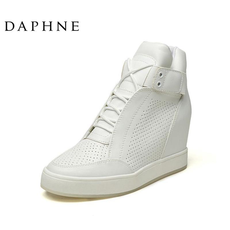 Daphne/达芙妮专柜女靴 冬新款时尚内增高坡跟女鞋系带高帮鞋短靴