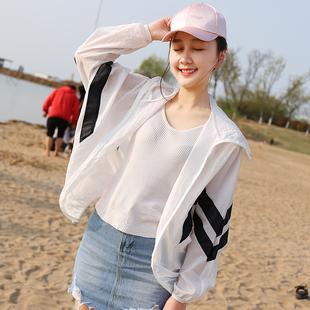 防晒衣女短款2018夏季新款防紫外线连帽薄外套宽松蝙蝠袖防晒衫