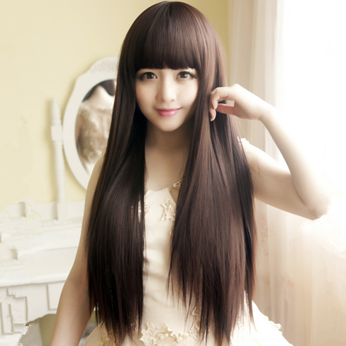 New wig female Qi Liuhai long straight hair, natural and lifelike, Korean full head set, whole wig special price