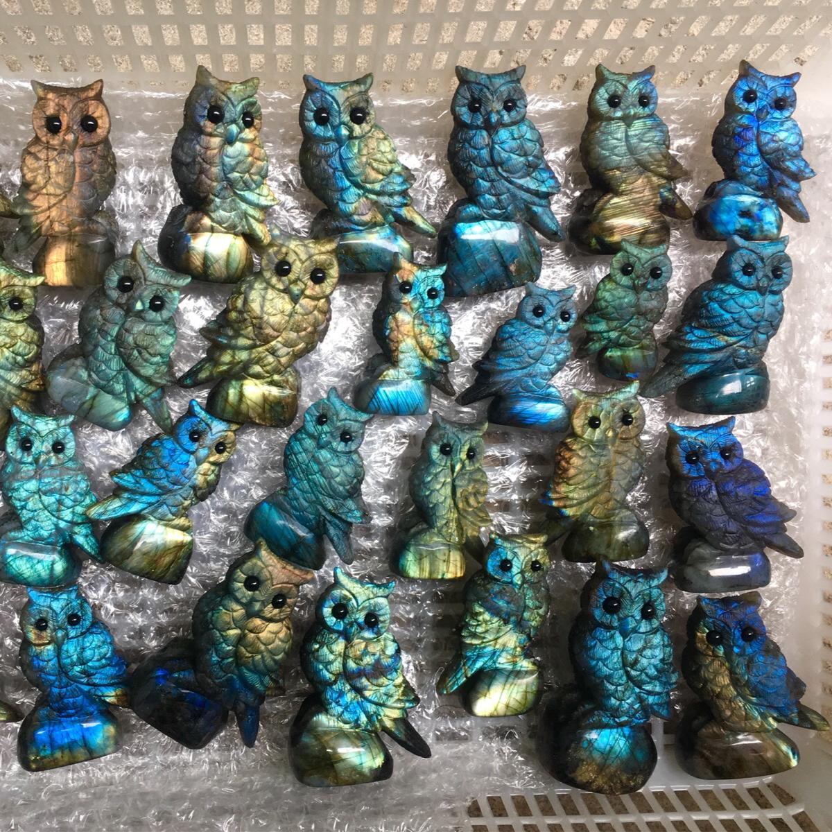 天然拉长石雕刻摆件猫头鹰小鸟百灵鸟鹦鹉景鸡纯手工雕刻外贸产品